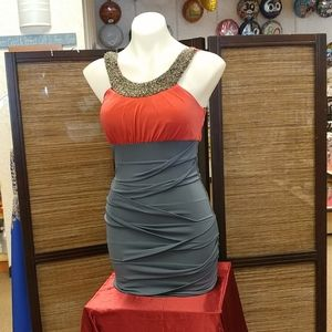 Coral and gray stretch fabric cocktail dress